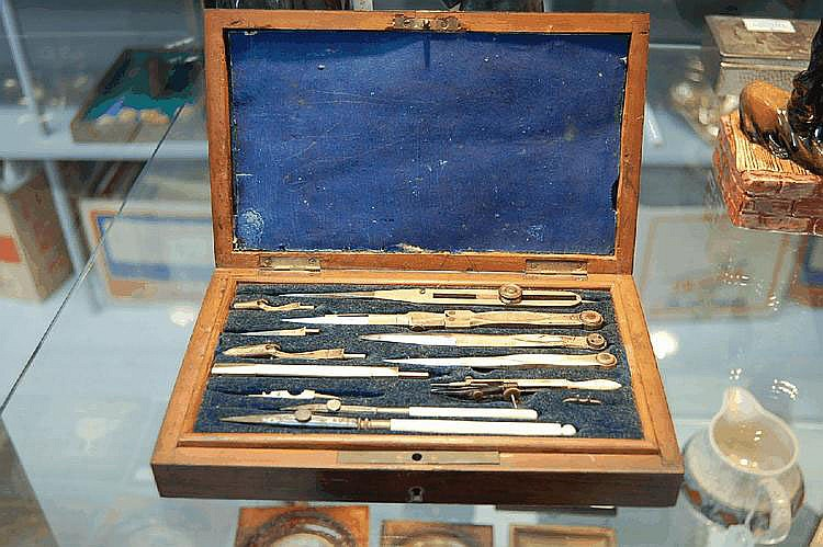 Antique French oak boxed set of box writing