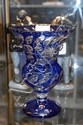 French blue overlay crystal vase
