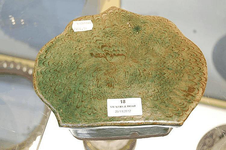 Chinese green glazed terracotta pillow, with