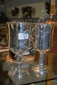 Pair of silver plated cups. Decorated with gilt