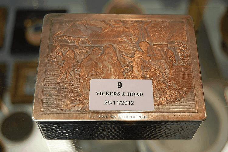 Antique French plated metal box, with cast relief