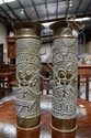 Pair of French WWI copper trench art vases