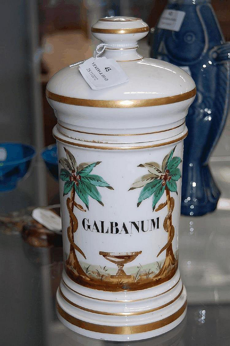 Antique French porcelain lidded pharmacy jar,