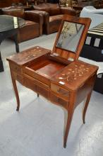 French floral marquetry inlaid dressing table, approx 76cm H x 79cm W x 45c