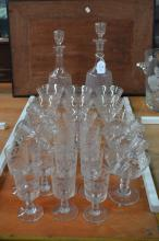 Part antique French service to include two decanters and glasses along with
