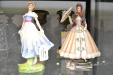 Royal Doulton, Royal Worcester, two figure of ladies, each approx 21cm H (2