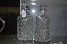 Two cut glass decanters, approx 25cm (2)