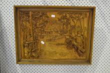 Wooden wall carving to depict Ned Kelly scene, approx 35cm x 49cm