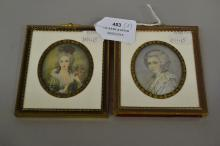 Two Antique French portrait miniatures painted on Ivory 19th Century, each