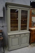 Antique French painted two height bookcase, approx 233cm H x 136cm W x 59cm
