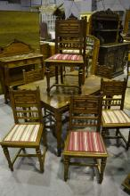 Set of eight antique Henri II carved walnut chairs (8)