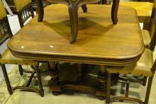 Antique French Henri II walnut table, approx 70cm H x 128cm W x 115cm D