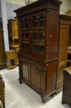 Antique mid 19th century Australian cedar two height bookcase, glazed two d