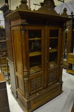 Antique French two door bookcase, approx 232cm H x 132cm W x 56cm D