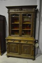 Antique French carved oak bookcase buffet, approx 245cm H x 138cm W x 58cm