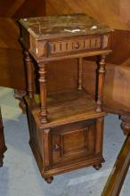 Antique French walnut Henri II marble topped nightstand, approx 93cm H