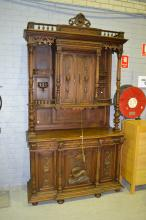Antique French Henri II carved walnut Renaissance style buffet, approx 270c