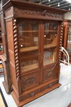 Antique French carved oak bookcase, approx 215cm H x 143cm W x 52cm D