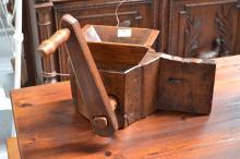 Antique 18/19th century French walnut & oak grinder, approx 25cm H