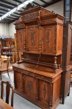 Antique French carved Henri II walnut six door buffet, approx 260cm H x 149
