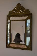 Antique 19th century French repousse brass cushion mirror, approx 87cm H x