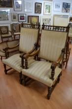 Pair of antique French Henri II carved walnut armchairs (2)