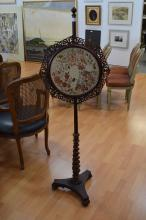 Fine antique needle work pole screen, approx 149cm H