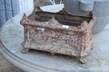 Antique French 19th century cast iron planter of rectangular shape, approx