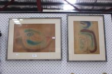 Pair of artworks, signed lower right Wotton 76? Approx 26cm H x 37cm and smaller