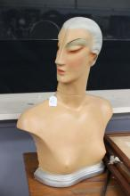 English Art deco shop display bust, of a side profile of a lady, approx 58cm H
