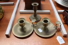 Pair of brass candleholders along with a brass candlestick, approx 10cm H (3)