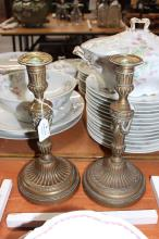 Pair of antique French bronze candlesticks (2)
