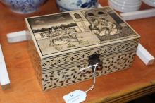 A decorative Indian bone jewel box, approx 9cm H x 20cm L x 13cm D