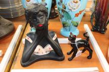 Vintage female lamp base along with a black cat, approx 24cm H and smaller (2)
