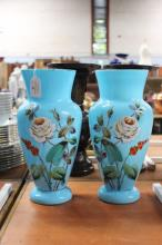 Pair of French antique blue glass vases decorated with hand painted flowers, approx 30cm H (2)
