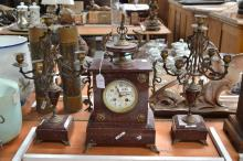 French marble and spelter clock and garnitures, has key (in office), no pendulum, approx 42cm H