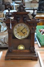 French wooden mantel clock, has key (in office) and pendulum, approx 48cm H