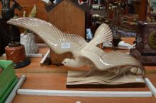 French vintage ceramic figure of a seagull, approx 38cm H x  72cm L