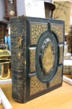 Antique green leather bound volume of The History of Ireland, approx 30cm x 27cm