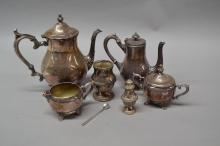 Selection of French silver plate items, tea pot, pepper pot, sugar bowl, etc (6)