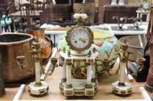 Louis XVI style mantle clock & garnitures, no key, has pendulum, approx 40cm x 5cm (3)