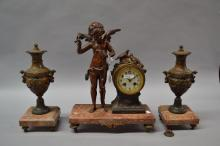 Antique French figural mantle clock & garnitures, of a cupid,  has key (in office) and pendulum, approx 40cm H (3)