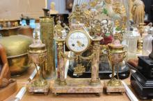 Antique French marble mantle clock & garnitures, has key (in office) and pendulum, approx 40cm H x 10cm W x 24cm L (3)