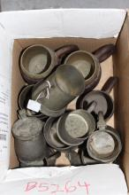 Lot of pewter, wood and brass tankards, approx 15cm H and smaller (11)