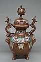 Chinese bronze & enamel twin handle lidded censer.