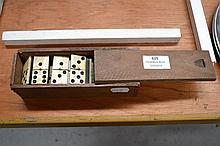 Antique box and ebony domino set in wooden box