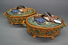 Pair of majolica pottery lidded game tureens,