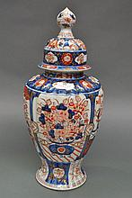 Imari lidded baluster vase with fluted body,