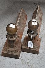 Pair of antique bulbous form andirons (2)