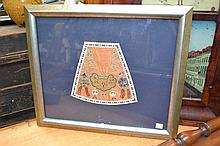 Framed antique Chinese embroidered padlock, this